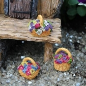 Set/3 Floral Baskets For Miniature Fairy Gardens