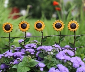 Metal Sunflower Fence For Miniature Fairy Gardens