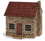 Log Cabin with Stone Chimney for Miniature Fairy Gardens