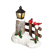 SALE! Northwoods Lighted Winter Fairy Fence with Cardinal