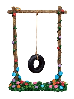 Tire Swing on Posts For Merriment Mini Fairy Gardening