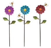 Set/3 Flowers with Bees Picks for Gypsy Miniature Fairy Gardens