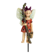 Ladybug the Swamp Fairy on Stake for Miniature Fairy Gardens