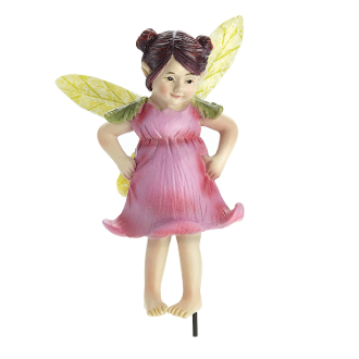 Ginny Pink Rose Fairy on Stake for Miniature Fairy Gardens