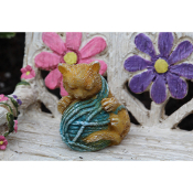 Bella,  Kitty with Yarn for Miniature Fairy Gardens