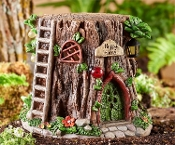 "Larger 10"" Fairy Stump Home with Solar Light - EXCLUSIVE"