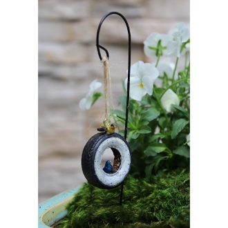 Tire Swing with Bird on Hook for Miniature Fairy Gardens