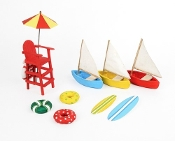 10Pc Beach Party Accessory Kit for Miniature Fairy Gardening