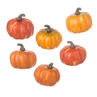 "Set of 6 1.75"" Speckled Pumpkins for Miniature Fairy Gardens"