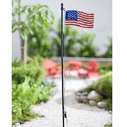 U.S. Flagpole For Miniature Fairy Gardens
